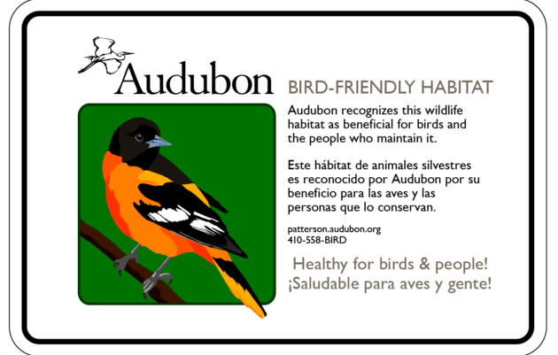Maryland Bird-Friendly Habitat Sign