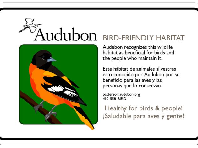 Maryland Bird-Friendly Habitat Sign